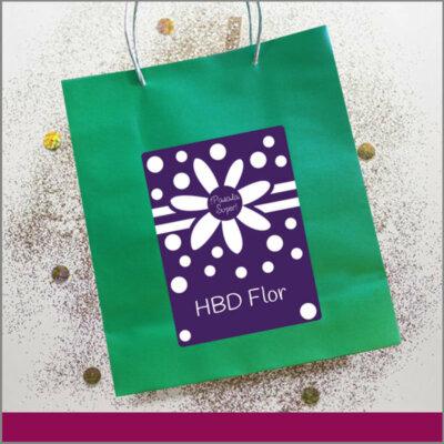 Bolsas Personalizadas Feliz Cumpleaños de Happy Birthday con Flor