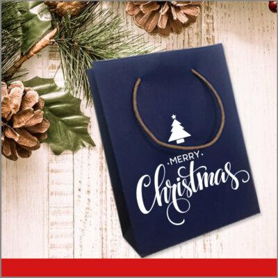 Bolsas de Navidad Vinil Color Azul Merry Christmas