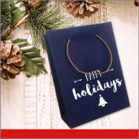 Bolsas de Navidad Vinil Color Azul para Happy Holidays