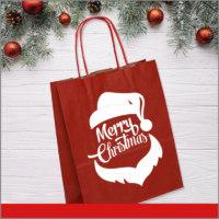 Bolsas de Navidad Vinil Color Rojo Santa Claus Merry Christmas