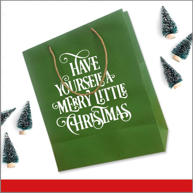 Bolsas de Navidad Vinil para Desear Feliz Navidad Y Feliz Año Nuevo Color Verde