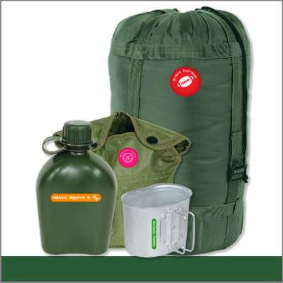 Etiqueta para mochilas, cantimplora, envases