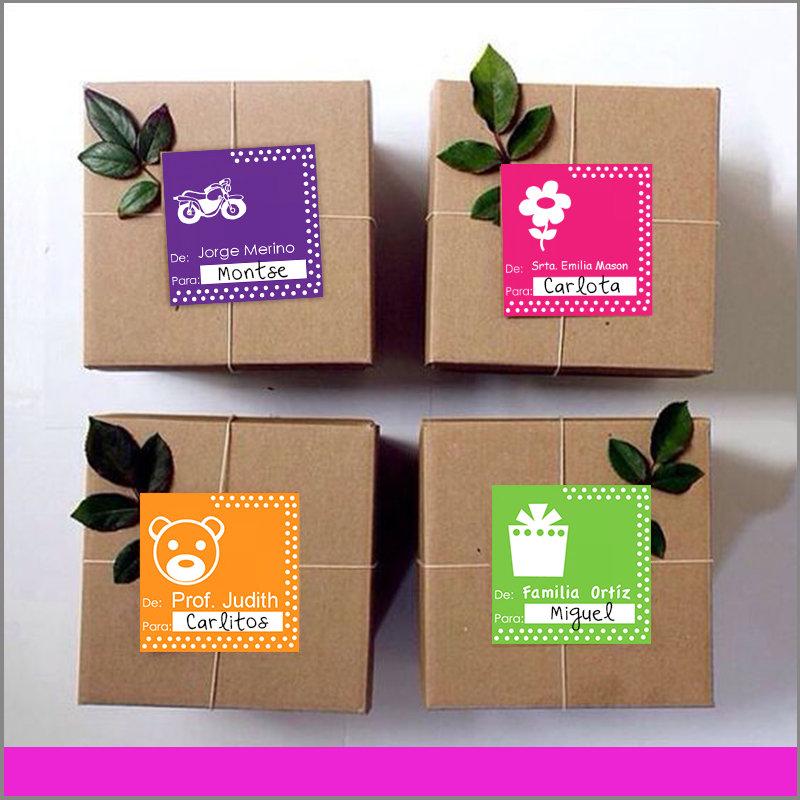 Etiquetas para Regalos De para Color Morado, Rosa, Naranja y Verde