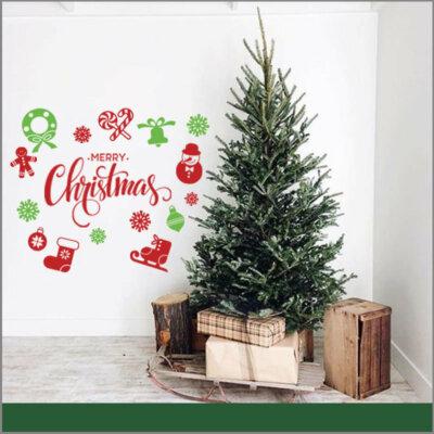 Vinil De Navidad Color Rojo Y Verde para Pared