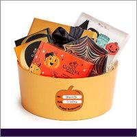Etiquetas para Regalos de Halloween Color Naranja con Figura de Calabaza