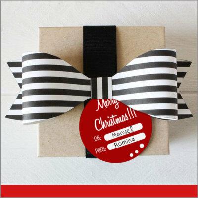 Etiquetas para Regalos de Navidad Color Rojo en Forma Circular