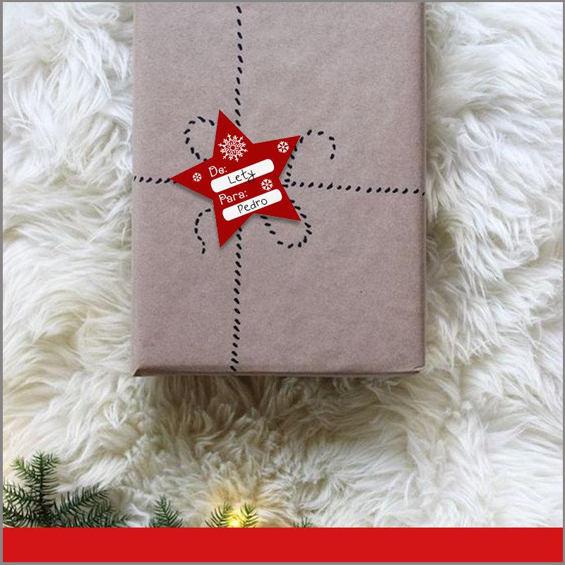 Etiquetas para Regalos de Navidad Color Rojo en Forma de Estrella