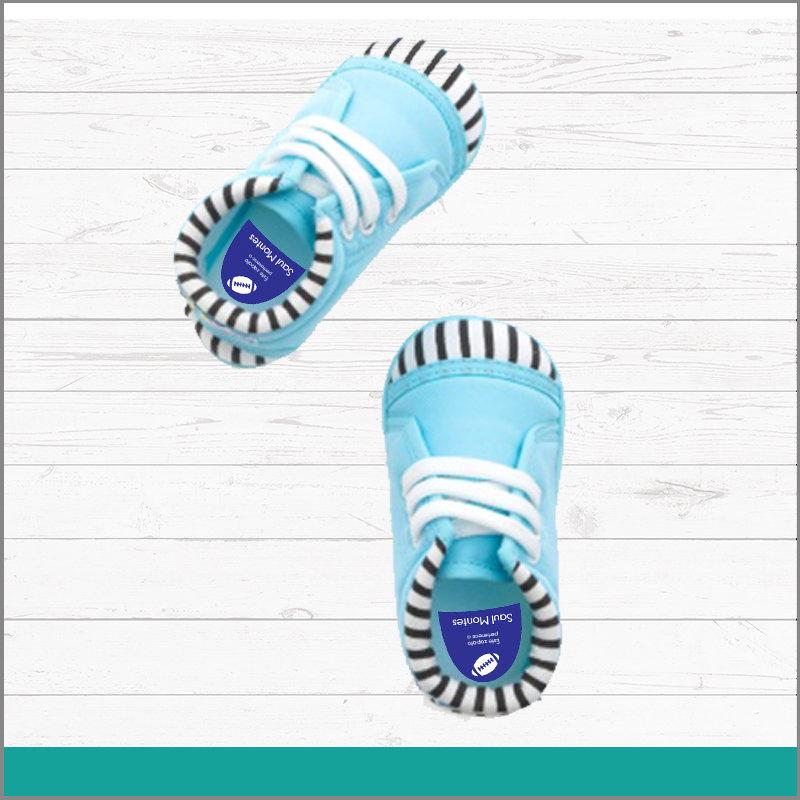 Etiqueta para Calzado Color Azul con Nombre para No Perderlos en Fiestas o Summer Camp