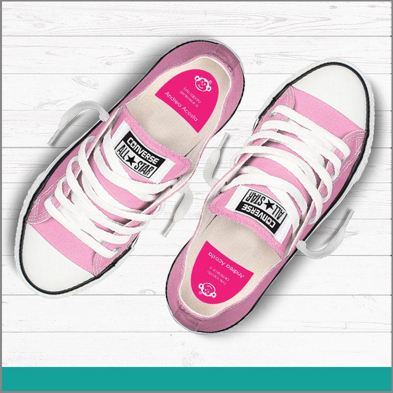 Etiqueta para Calzado Color Rosa con Nombre para No Perderlos en Fiestas o Summer Camp