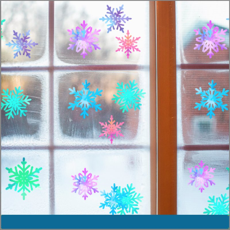 Adherible para ventana copos de nieve navidad